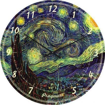 """Часы настенные большого размера """"Звездная ночь - Винсент Ван Гог"""" (450мм) [Стекло, Открытые]"""