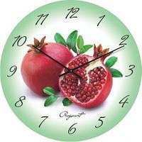 """Кухонные настенные часы """"Спелый гранат"""" (300мм) [Стекло, Открытые]"""