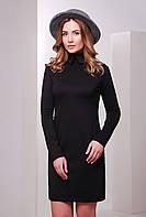 Стильное женское платье до колена с длинным рукавом и воротничком черный
