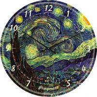 """Часы настенные """"Звездная ночь - Винсент Ван Гог"""" (300мм) [Стекло, Открытые]"""