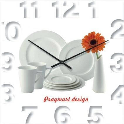 """Кухонные настенные часы """"Белая сервировка"""" (350мм) [Стекло, Открытые]"""