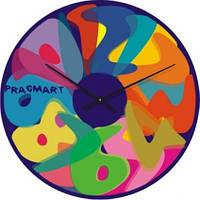 """Большие настенные часы """"Коллаж из цифр"""" (450мм) [Стекло, Открытые]"""