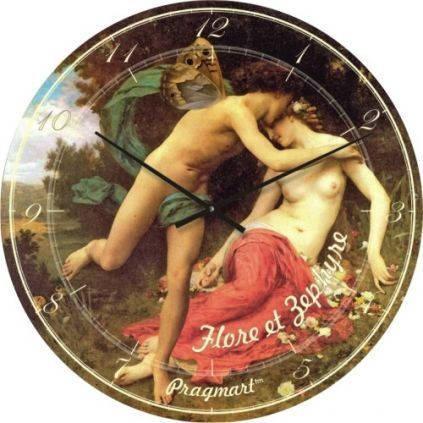 """Часы настенные большого размера """"Купидон и Психея - Вильям Адольф Бугро"""" (450мм) [Стекло, Открытые]"""