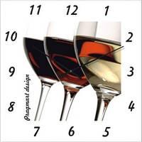 """Настенные часы в кухню """"Белое, розовое, красное вино"""" (300мм) [Стекло, Открытые]"""