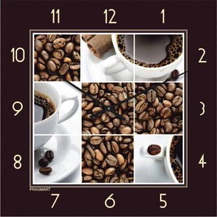 """Кухонные настенные часы """"Кофейное настроение"""" (450мм) [Стекло, Открытые]"""