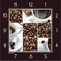 """Часы кухонные настенные """"Кофейное настроение"""" (300мм) коричневые бесшумные Pragmart-356-300 [Стекло]"""