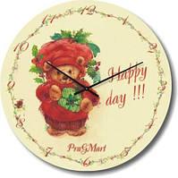 """Настенные часы в детскую """"Happy day!!!"""" (300мм) [Стекло, Открытые]"""