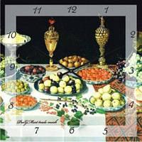 """Часы кухонные настенные """"Трапеза"""" (300мм) черные бесшумные Pragmart-365-300 [Стекло]"""