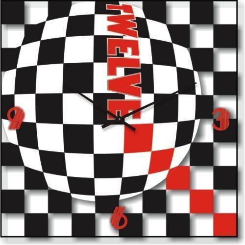 """Часы настенные """"Черный-белый-красный"""" (300мм) [Стекло, Открытые]"""