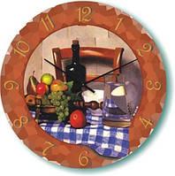 """Часы кухонные настенные """"Натюрморт с фруктами и вином"""" (300мм) коричневые бесшумные Pragmart-401-300 [Стекло]"""