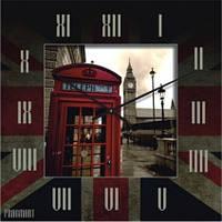 """Часы настенные большие """"Телефонная будка в Лондоне"""" (450мм) [Стекло, Открытые]"""