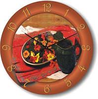 """Часы кухонные настенные """"Натюрморт с кувшином"""" (300мм) коричневые бесшумные Pragmart-402-300 [Стекло]"""