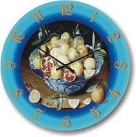 """Кухонные настенные часы """"Цитрусовый натюрморт"""" (450мм) [Стекло, Открытые]"""