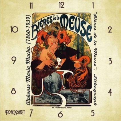 """Часы настенные большого размера """"Пива с Мааса - Альфонс Муха"""" (450мм) [Стекло, Открытые]"""