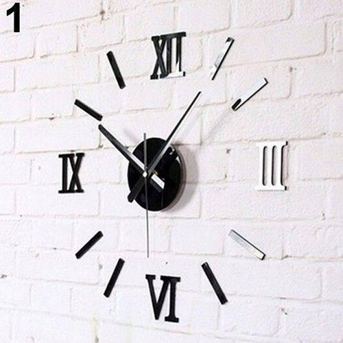 Часы интерьерные настенные с римскими цифрами (диаметр 0,35 - 0,5 м) черные [Пластик]