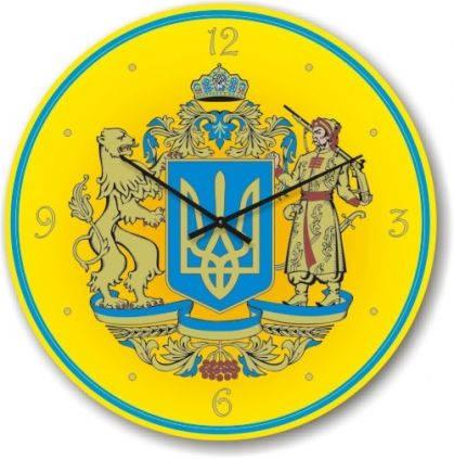"""Часы настенные """"Большой Герб Украины"""" (300мм) [Стекло, Открытые]"""