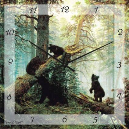 """Часы настенные """"Утро в сосновом бору - Шишкин"""" (350мм) [Стекло, Открытые]"""