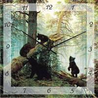 """Оригинальные часы на стену """"Утро в сосновом бору, Шишкин"""" (300мм) коричневые бесшумн Pragmart-382-300 [Стекло]"""