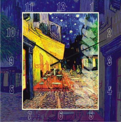 """Часы настенные большого размера """"Терраса ночного кафе Винсент Ван Гог"""" (450мм) [Стекло, Открытые]"""