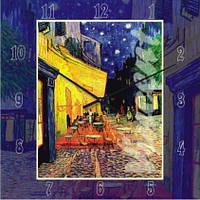 """Часы настенные модерн """"Терраса ночного кафе, Винсент Ван Гог"""" (300мм) синие бесшумные Pragmart-410-300 [Стекло]"""
