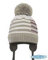 Детская теплая вязанная шапочка для мальчика от BARBARAS Польша