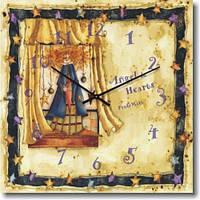 """Настенные часы в детскую комнату """"Сказка"""" (300мм) бежевые бесшумные Pragmart-707-300 [Стекло]"""