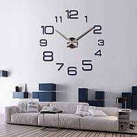 3D-3D-Часы настенные большие с арабскими цифрами типа 2 (диаметр 1 м) черные [Пластик]