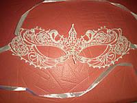 Маска карнавальная венецианская  держит форму таинственная леди_ белая
