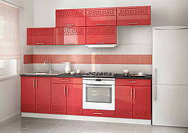 Кухня на заказ - красный глянец, изготовление вариант-024