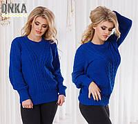 Модный вязаный свитер из шерсти, цвет электрик. Арт-9632/35