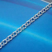 Серебряная цепочка, 550мм, 10,8 грамма, плетение Бисмарк, светлое серебро, фото 3