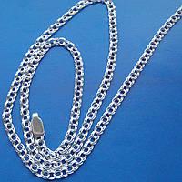 Серебряная цепочка, 500мм, 7,6 грамма, плетение Бисмарк, светлое серебро