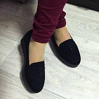 Туфли женские черные замш