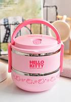 Термос для еды 1.4 л ланч-бокс пищевой два отделения цвет розовый, размер 15 х 14.5 см