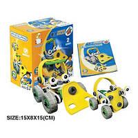Пластиковый конструктор (2 машины) в коробке (желтый), Flexible Build&Play