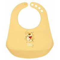 Пластиковый слюнявчик с карманом, желтый с мишкой, Canpol babies