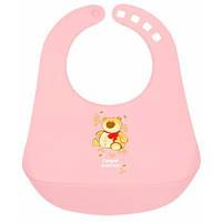 Пластиковый слюнявчик с карманом, розовый с мишкой, Canpol babies