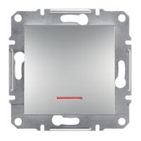Schneider Electric Asfora Алюминий Переключатель проходной с подсветкой без рамки