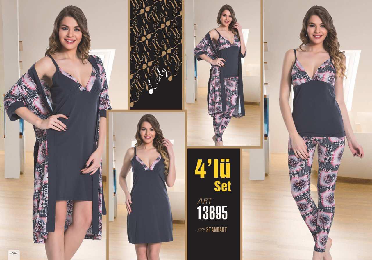 """Комплект жіночий """"4 предмета"""" халат піжама і ночнушка №13695"""