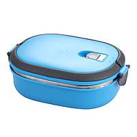 Термос для еды 900 мл ланч-бокс пищевой цвет голубой, размер 20х15х8 см