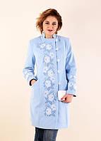 Модное вышитое женское пальто с воротником-стойка