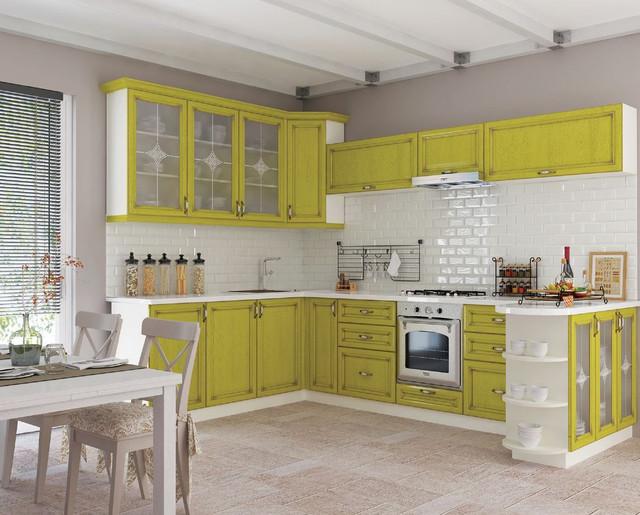 Кухня Классик Шпон, цвет патина лимон