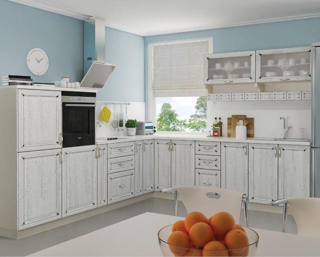 Кухня Классик Шпон, цвет серый патина