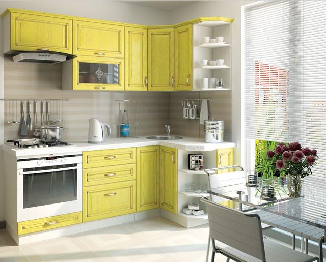 Кухня Классик Шпон, цвет патина лимон (фото 2)