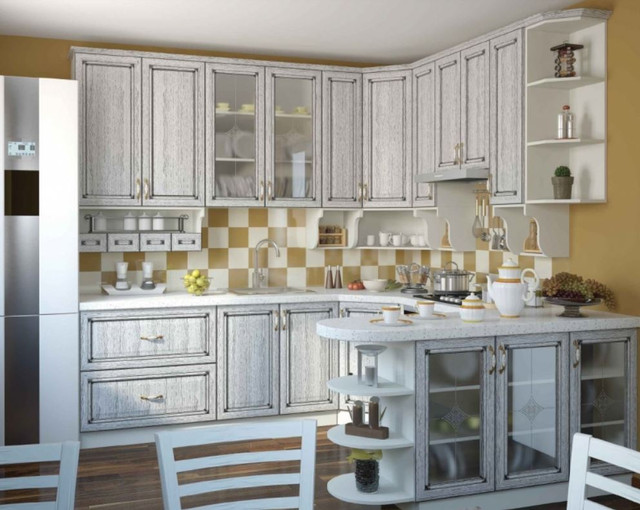 Кухня Классик Шпон, цвет серый патина (фото 2)