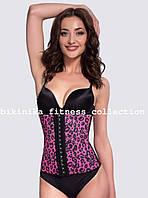 Розовый леопардовый латексный корсет Waist Training Pro. 55381-2