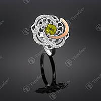 Серебряное кольцо с хризолитом и фианитами. Артикул П-349