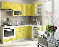 Кухня София Классика шпон патина Кухня 2,6 метров, Патина лимон