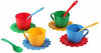 Ромашка, набор посуды 12 предметов, (красный, синий, желтый, зеленый). Тигрес
