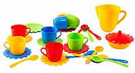 Ромашка, набор посуды с желтым чайником, 28 предметов в коробке. Тигрес
